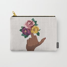 Middle finger with flowers Carry-All Pouch