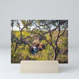 Edith Falls framed between trees, Katherine, Australia Mini Art Print