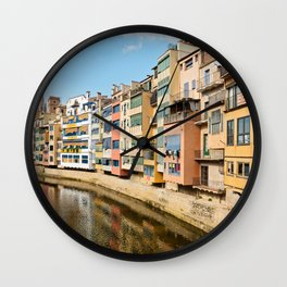 Colorful houses and reflected in water in Girona Wall Clock