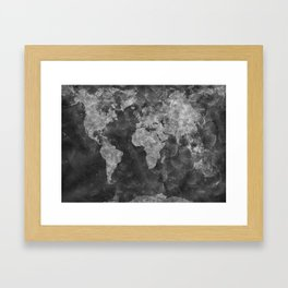 world map 55 black Framed Art Print