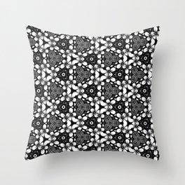 Black and White Stitchery Throw Pillow