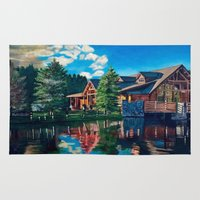 cabin Area & Throw Rugs featuring The Cabin by Cwhales Art