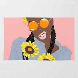 Black Flower Goddess - Digital Vector Drawing Rug
