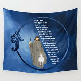 Jesus of Nazareth the Good Shepherd Wall Tapestry
