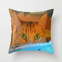 Sir Watson Tabby Digital Cat Throw Pillow