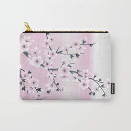 Pink And Olive Green Cherry Blossoms Carry-All Pouch