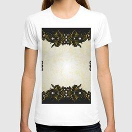 Abstract golden frame with pearls T-shirt