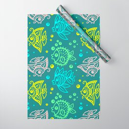 Fishes Batik Style Seamless Pattern Wrapping Paper