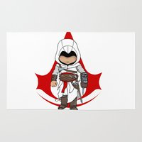 assassins creed Area & Throw Rugs featuring Altaïr Ibn-La'Ahad: Assassins Creed Chibi by SushiKitteh'sCreations