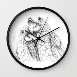 Macaw Pair In Love Wall Clock