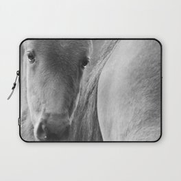 Original horses photo. Black & White, fine art, animal photography, landscape, b&w Laptop Sleeve