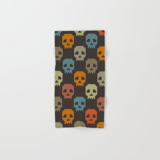 Knitted skull pattern - colorful Hand & Bath Towel