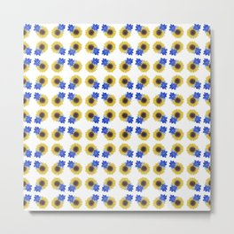 Sunflower Floral Pattern Metal Print
