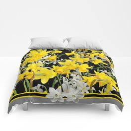 Black-Grey Art Design Yellow-White Daffodils Comforters