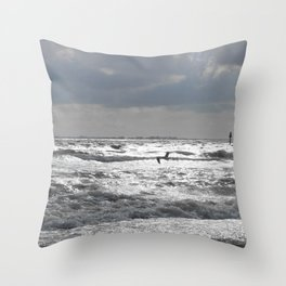 Seagull at Sunset Throw Pillow