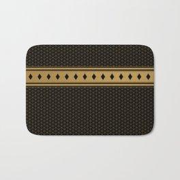 Rich Black Gold Diamond Pattern Design Bath Mat