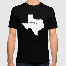 Texas State outline  MEDIUM Mens Fitted Tee Black