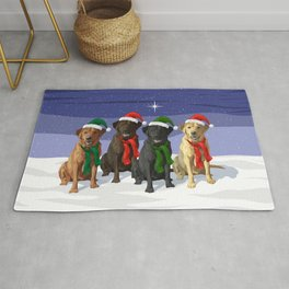 Christmas Dogs Red Chocolate Black Yellow Labrador Retrievers Rug