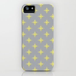 Ornamental Pattern with Grey and Lemon Yellow Colourway iPhone Case