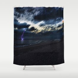 Twilight Lightning and Lighthouse Landscape by Jeanpaul Ferro Shower Curtain