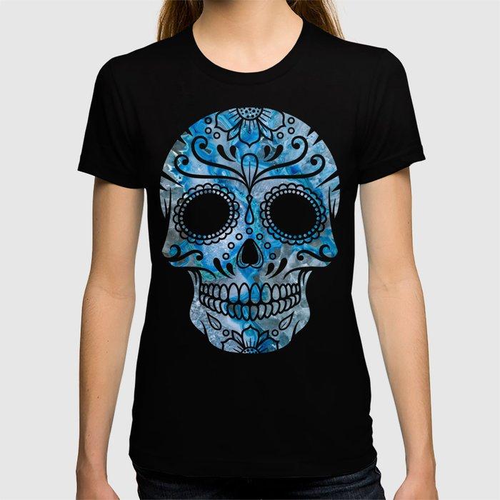 Blue Lace Sugar Skull T-shirt