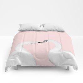 Blush Kiss - Swans in Love - Kissing Swans #1 #decor #art #society6 Comforters