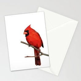 Nothern Cardinal - Low poly digital art Stationery Cards
