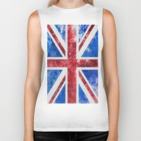 union jack Biker Tanks featuring Union Jack by LebensART