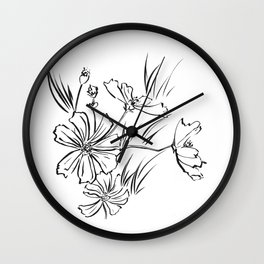 Cosmos Flowers Ink Drawing Wall Clock