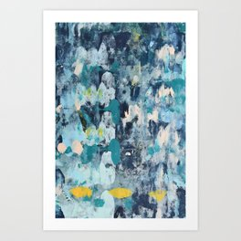 015.2: a bright contemporary abstract design in blues pinks and yellow by Alyssa Hamilton Art  Art Print