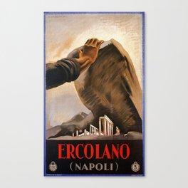 Ercolano Naples Italian art deco ad Canvas Print