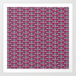 rows of Fans on deep coral Art Print