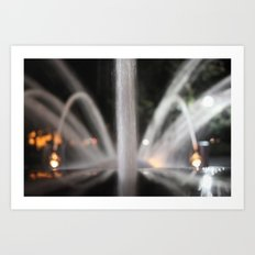 Fountain/Water/Night Art Print