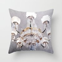 chandelier Throw Pillows featuring Chandelier by Charming Ink