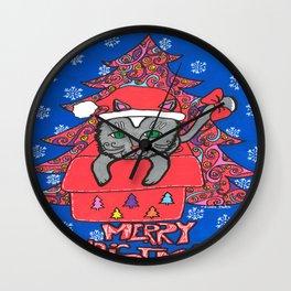 CHRISTMAS CAT 001 Wall Clock
