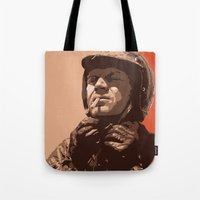 steve mcqueen Tote Bags featuring S McQueen by Rich Lee