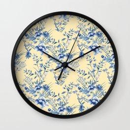 Chinoiserie Flowers Blue on Lemon Honey Creme Wall Clock
