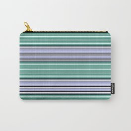 Horizontal turquoise,black, white, lilac stripes. Carry-All Pouch