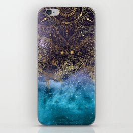 Gold floral mandala and confetti image iPhone Skin