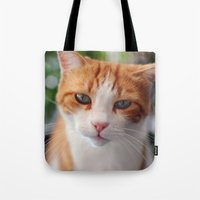"garfield Tote Bags featuring Garfield - a red cat by Michele ""Sonik"" Bruseghin"