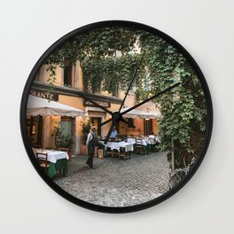 Italy Photography - Beautiful Restaurant In Rome Wall Clock