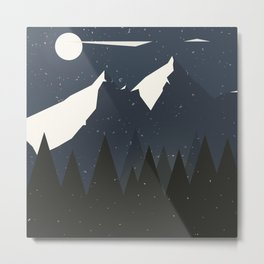 Mountains and Forest of Pine trees at night. Winter Landscape - Illustration Metal Print
