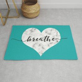 BREATHE Marble Heart | Calmness & Meditation mantra Rug