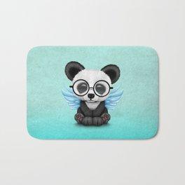 Cute Panda Cub with Fairy Wings and Glasses Blue Bath Mat