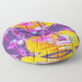 PURPLE-WHITE IRIS & MOON WATER GARDEN  REFLECTION Floor Pillow