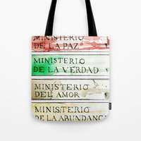 1984 Tote Bags featuring Ministerios 1984 by Jorge Soriano