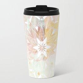 White mandala on pink Travel Mug