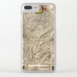 Map Of Switzerland 1750 Clear iPhone Case