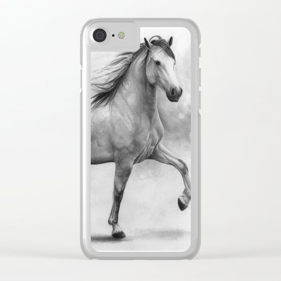 Horse II - pencil drawing Clear iPhone Case