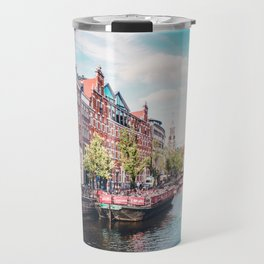Colorful Amsterdam Canals | Europe Travel City Urban Landscape Photography Travel Mug